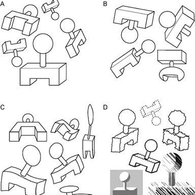 Черно-белые изображения, показывающие одну и ту же форму, многократно перекошенную и искаженную