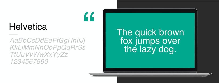 Образец шрифта для Helvetica