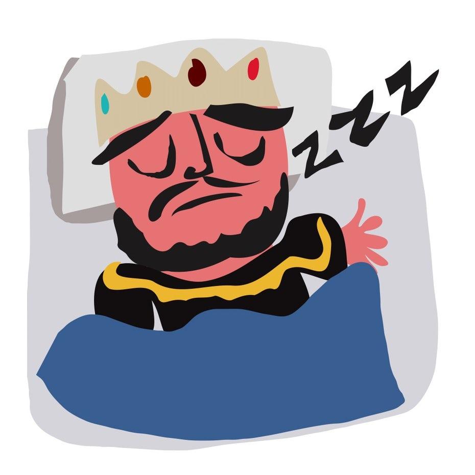 """Иллюстрация спящего короля в постели """"width ="""" 611 """"height ="""" 611 """"/>    <figcaption> Убедитесь, что вы не дремлет на работе. Иллюстрация Э.Роснера </figcaption></figure> <ul> <li aria-level="""