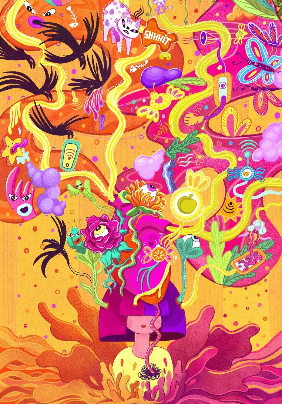 Яркие, сюрреалистические и абстрактные иллюстрации