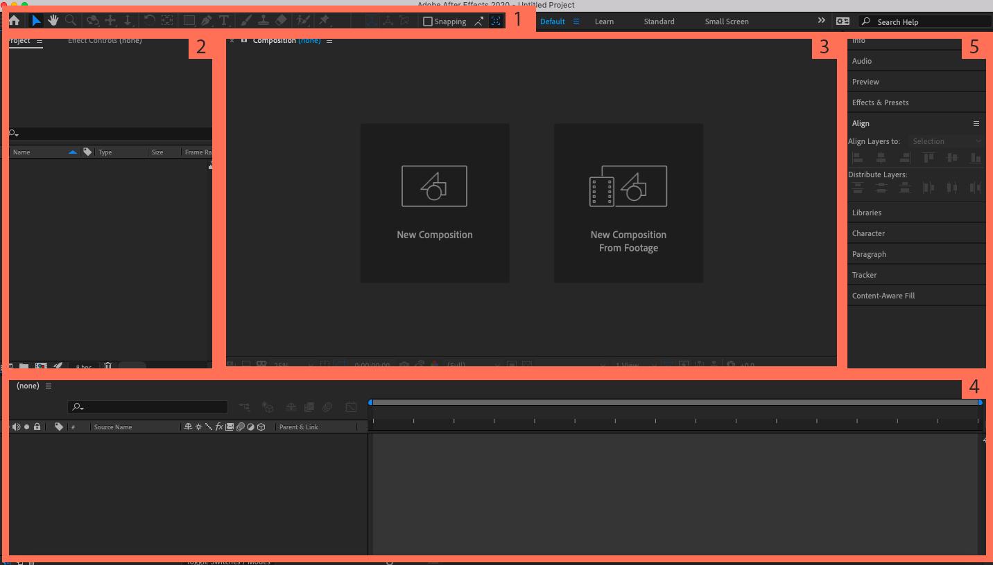 """Снимок экрана интерфейса Adobe After Effects с помеченными разделами """"width ="""" 1432 """"height ="""" 816 """"/>    <figcaption> Разбивка интерфейса After Effects </figcaption></figure> <ol start="""