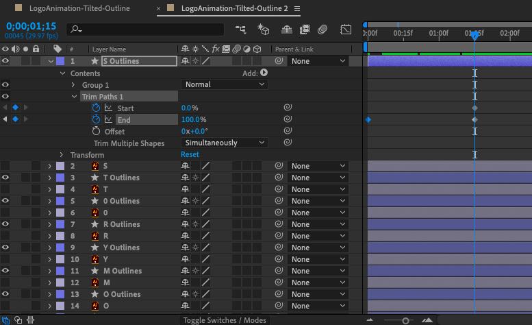 """Снимок экрана панели временной шкалы Adobe After Effects """"width ="""" 777 """"height ="""" 474 """"/>    <figcaption> Слои фигур содержат кнопку Добавить (справа от свойства Contents), что позволяет добавить всевозможные анимируемые свойства, такие как Trim Paths </figcaption></figure> <p> Для моего логотипа я использовал довольно распространенную и полезную анимацию, используя свойство Trim Paths. Для этого я добавил Trim Paths с помощью <strong> Добавьте кнопку </strong> в слои формы для каждой буквы, установите для ключевого кадра атрибута End значение 0% в начале шкалы времени и 100% примерно через 1 секунду. Как видите, при этом контур букв выглядит нарисованным невидимой рукой в реальном времени. </p> <figure data-id="""