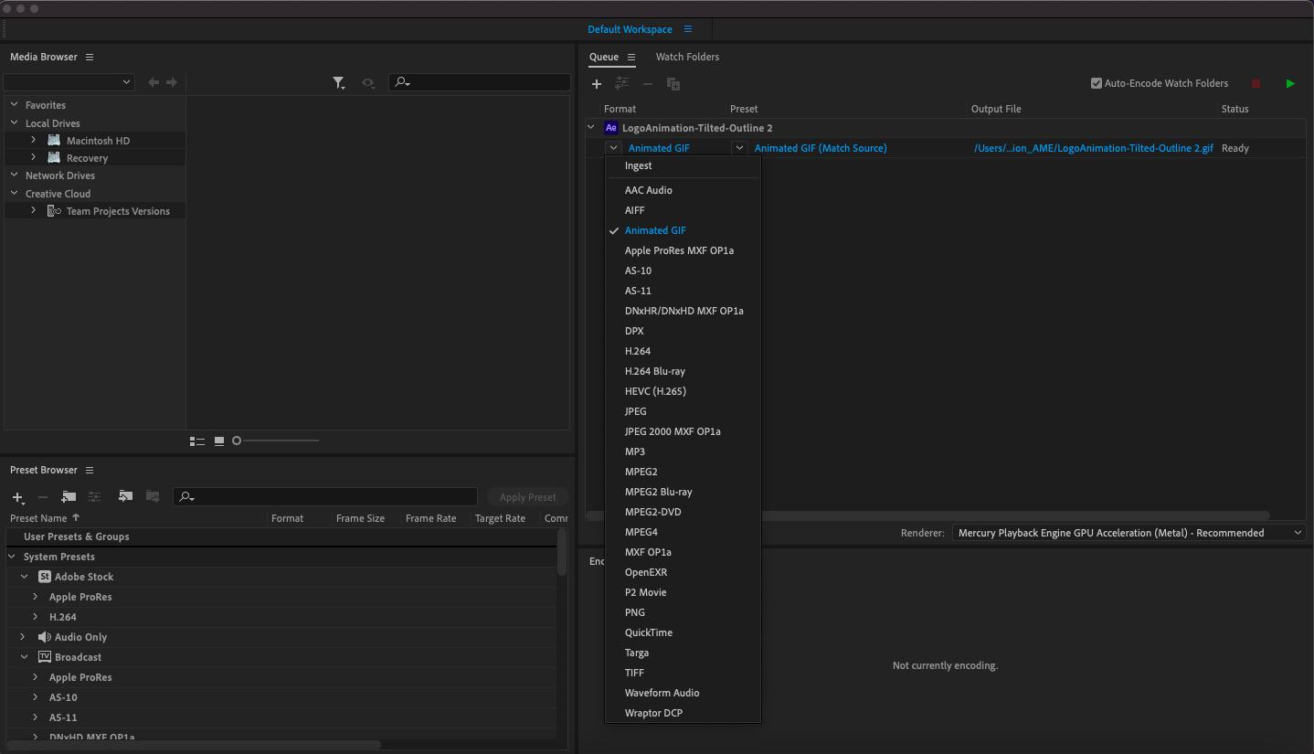 """Снимок экрана Adobe Media Encoder """"width ="""" 1438 """"height ="""" 825 """"/>    <figcaption> Чтобы экспортировать файл, перейдите в« Файл »>« Экспорт »>« Добавить в очередь Adobe Media Encoder »и выберите« Анимированный Gif »из раскрывающийся список под столбцом Формат </figcaption></figure> <p> Дважды щелкните выделенный синий текст под Preset, чтобы открыть окно настроек экспорта. Есть несколько вариантов, на которые вы хотите обратить внимание, чтобы перенести файл уменьшите размер: качество (я выставил 20), частоту кадров (я установил 10, хотя для видео рекомендуется более высокая частота кадров (fps)) и длительность, которая является синей полосой под предварительным просмотром (я обрезал свой до 4 секунд). Выберите <strong> ОК </strong>чтобы закрыть это окно. </p> <figure data-id="""