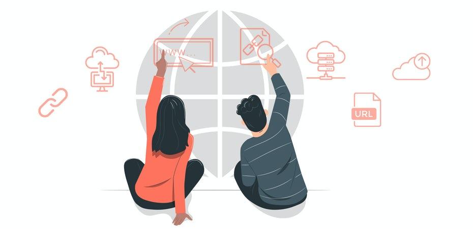 """Два человека, сидящие спиной к разным значкам для загрузки, ссылки, URL-адреса """"width ="""" 1441 """"height ="""" 699 """"/>    <figcaption> Иллюстрация OrangeCrush </figcaption></figure> <h3><span id="""
