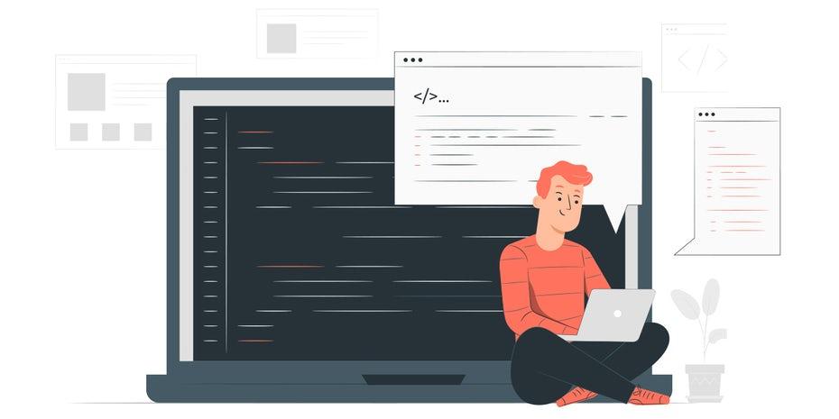 """Ноутбук со строками кода и сидящим на полу человеком, кодирующим """"width ="""" 1399 """"height ="""" 699 """"/>    <figcaption> Иллюстрация OrangeCrush </figcaption></figure> <h3><span id="""