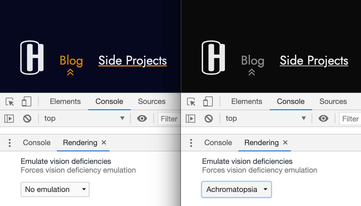 """Снимок экрана, сравнивающий навигацию по этому веб-сайту в цвете и черно-белом. """"Loading ="""" lazy """"/>    <figcaption>     Эмуляция нарушений зрения с помощью Chrome DevTools позволяет понять, как люди с нарушениями зрения видят ваш сайт. В этом примере значок представляет собой визуальный индикатор (рядом с цветом), отражающий текущую страницу.<br />   </figcaption></figure> <h2 id="""