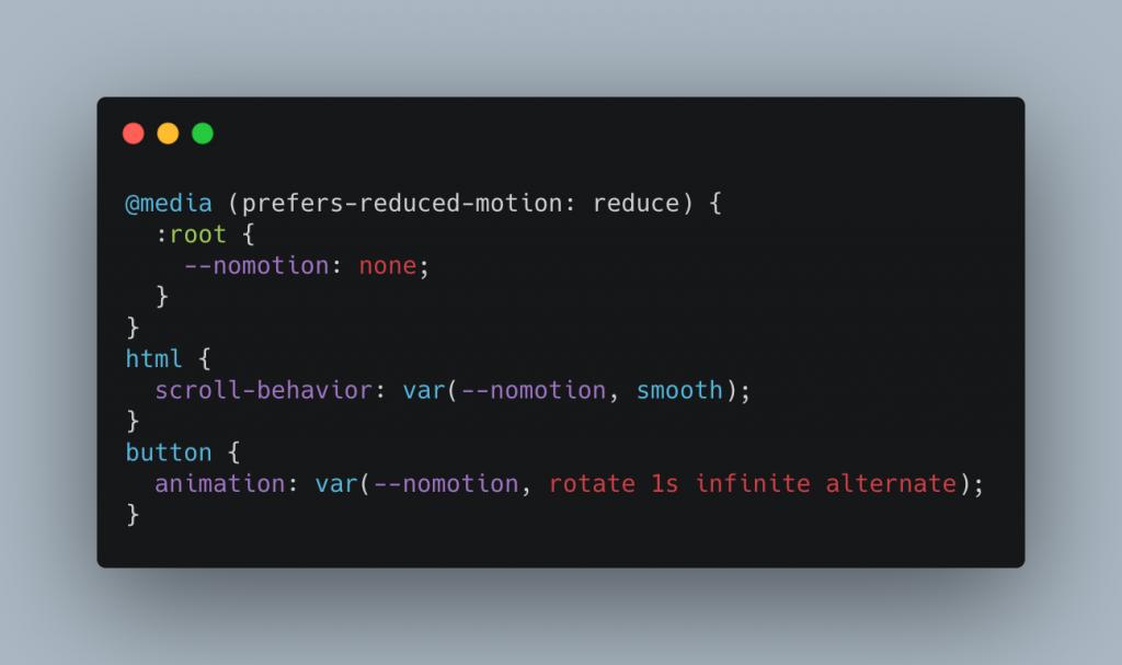 """Условная анимация с демонстрационным кодом свойств CSS """"width ="""" 1024 """"height ="""" 607 """"/> </p> <p> Использование анимации, переходов и плавной прокрутки — это весело, но они также создают проблему доступности. Различным группам людей сложно пользоваться вашими продуктами, когда вещи все время движутся и меняются. Вот почему в операционных системах есть параметр «Уменьшение движения», который вы можете включить. Наша <span class="""