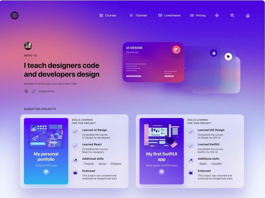Страница профиля DesignCode