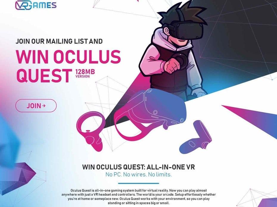 Целевая страница Oculus с размытием по Гауссу