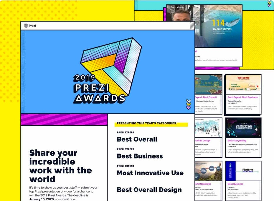 Целевая страница Prezi Awards