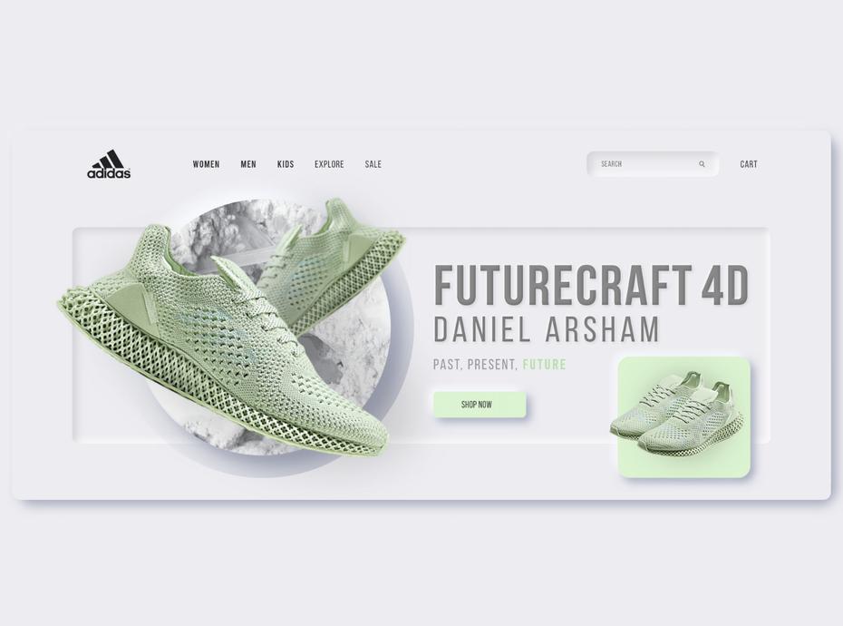 Целевая страница неуморфизма Adidas