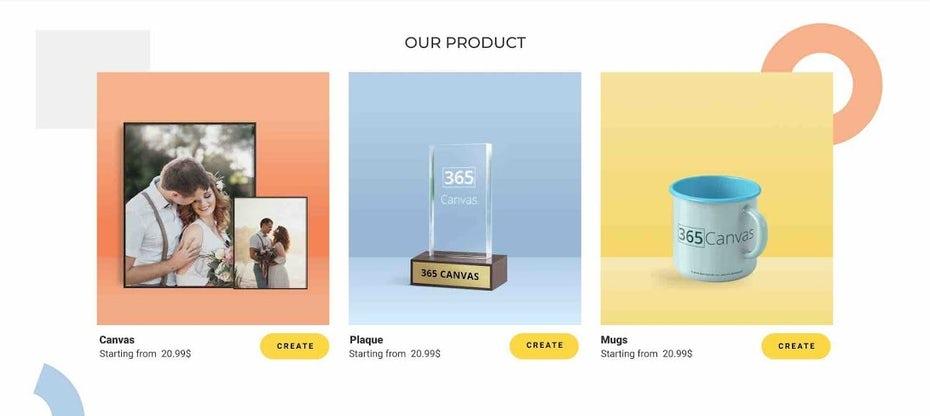 Фотопечать веб-дизайн электронной коммерции