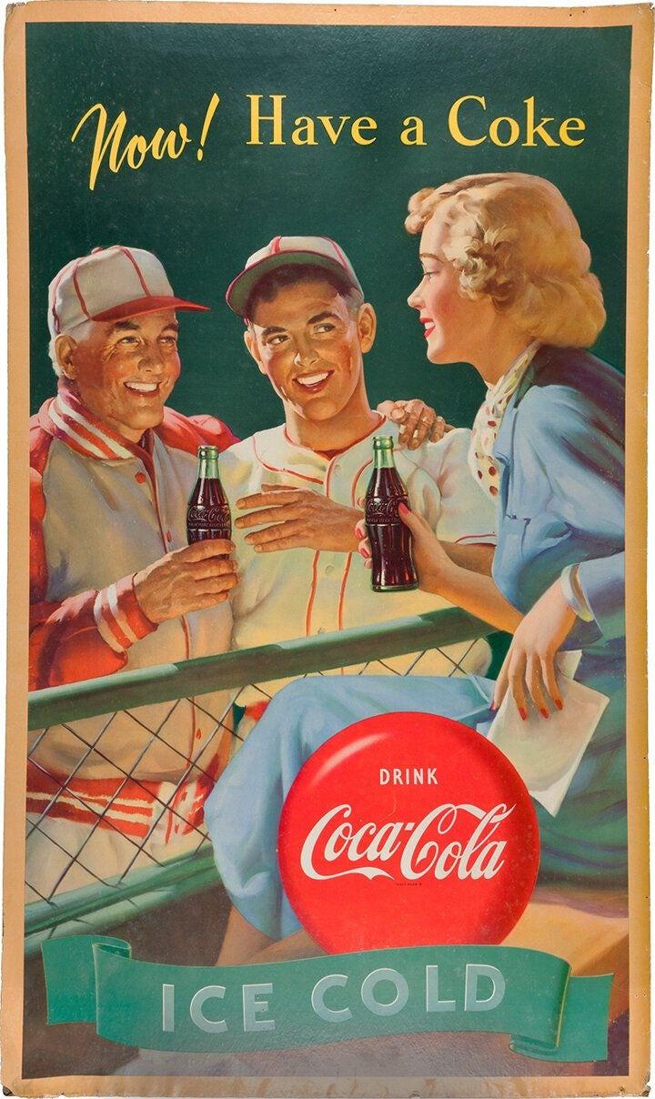 """Винтажная реклама Coca Cola для бейсбола """"width ="""" 720 """"height ="""" 1208 """"/>    <figcaption> Винтажная реклама Coca Cola на Pinterest </figcaption></figure> <h3> Художники поп-арта </h3> <p> Хотя американские СМИ и консьюмеризм были предметом поп-арта, этот термин возник в Великобритании в 1950-х годах. В европейском контексте поп-арт в значительной степени служил реакцией на вторжение американской поп-культуры через рекламу. </p> <figure data-id="""