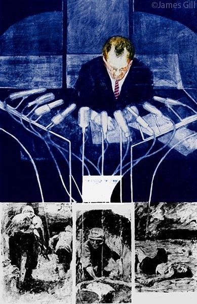 """Машины Джеймса Гилла """"width ="""" 389 """"height ="""" 600 """"/>    <figcaption> Машины Джеймса Гилла (1965) через Wikimedia Commons </figcaption></figure> <p> Роберт Раушенберг, один из Самые ранние американские художники поп-арта и что-то вроде преемника «орехового» художника-дадаиста Дюшана создавали коллажи из смешанных материалов, которые включали выброшенные предметы в картины, очень похожие на захороненные артефакты, которые определяют потерянные цивилизации. Одна из его самых известных работ, картина названный <em> Retroactive II </em> (1963), использовал коммерческие методы шелкографии и присвоение известных фотографий, твердо отождествляя его с движением поп-арта. </p> <p> Джеймс Гилл — еще один художник поп-арта, который использовал образы политических деятелей и текущих событий в своем искусстве, но с явно более критическим тоном, чем его современники — <em> Машины </em> (1965), изображающие Никсона, говорящего в микрофоны, чей кабели спускаются вниз в фотографии смертельной войны. </p> <p> Розалин Дрекслер, которая может похвастаться обширным опытом в различных дисциплинах, от изобразительного искусства, написания романов и борьбы, аналогичным образом создавала свои картины из разрозненных коллажированных изображений, часто заимствованных из афиш фильмов, и закрашивала их смелыми минималистичными цветами.</p> <figure data-id="""