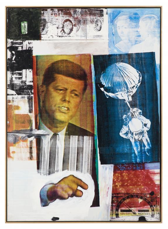 """Ретроактивная II Роберта Раушенберга """"width ="""" 575 """"height ="""" 787 """"/>    <figcaption> Ретроактивная II Роберта Раушенберга (1963) через Фонд Роберта Раушенберга </figcaption></figure> <p> Между тем, Полин Боты, основательница британского движения поп-арт, регулярно включала в свои картины рекламные фотографии знаменитостей мужского и женского пола, сочетая их с лепестками роз и яркими цветами в праздничной чувственности. </p> <p> Позже ее работа стала более критичной, в частности, в ее картине 1964 года «Это мужской мир I», в которой популярные образы известных людей изображены как строительные блоки правительства и войны. </p> <p> За прудом американские художники представляли свои отношения с безудержной рекламой как отражение идеалов и реальности. Подобно тому, как греческие художники-классики лепили своих мифических героев и богов как воплощение красоты, американские СМИ создали новые стандарты красоты. </p> <figure data-id="""