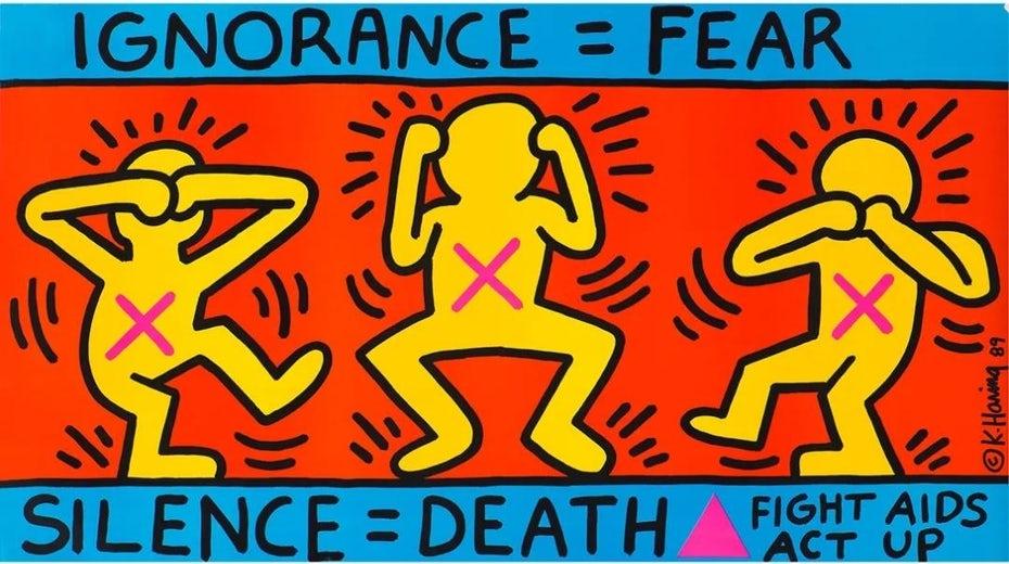 """Невежество Кита Харинга = Страх """"width ="""" 1080 """"height ="""" 604 """"/>    <figcaption> Невежество Кита Харинга = Страх (1989) через haring.com </figcaption></figure> <h2> Поп-арт в современном дизайне <br /> — </h2> <p> В конце концов, поп-арт — это универсальная эстетика, которую любой дизайнер может адаптировать к своей работе, независимо от того, в каком десятилетии он находится. Чтобы понять, как это делается, давайте взглянем на некоторые современные дизайны, которые направляют Поп-арт. </p> <p> Многие дизайнеры передают этот стиль в образе классических произведений поп-арта и имитируют их. Это не только самый простой подход, но и он прекрасно вписывается в идеал поп-арта о прямом присвоении и пародии. </p> <p> И Цифровой Человек, и хрю! В дизайне, например, этот подход используется для изображения логотипов в виде серии разноцветных портретов в честь <em> Мэрилин Диптич </em>с коммерческими векторными методами, действующими как цифровой эквивалент массового производства эпохи 60-х годов. </p> <p> Алебелка и Монсат тем временем используют повторение и воспроизведение для создания дизайна, который напоминает <em> Банки для супа Кэмпбелла </em>. </p> <figure data-id="""