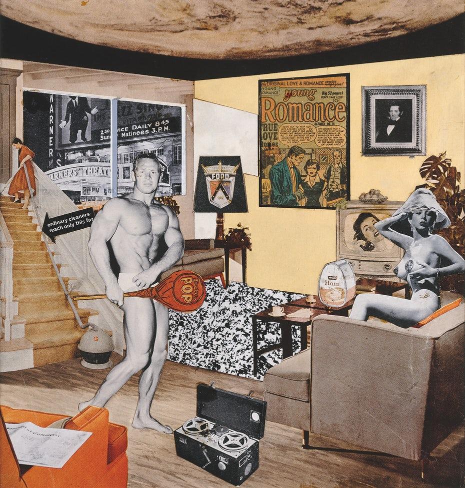 """Ричард Гамильтон: что именно делает сегодняшние дома такими разными, такими привлекательными? """"Width ="""" 975 """"height ="""" 1024 """"/>    <figcaption> Ричард Гамильтон: Что именно делает сегодняшние дома такими разными? , так привлекательно? (1956) через Wikimedia Commons </figcaption></figure> <p> Поп-арт — это движение в изобразительном искусстве, которое царило в середине 1950-х и 60-х годов и в основном сосредоточивалось на изображениях популярной американской поп-культуры иконографии. часто варьировались от буквальных, таких как репродукции реальных панелей из комиксов Роя Лихтенштейна, до стилизованных, таких как журнальные коллажи Ричарда Гамильтона. В отличие от произведений искусства, подчеркивающих особую руку художника, поп-арт обычно имитировал безличную и управляемую машиной графику. товарной продукции. </p> <p> Как и все искусство, то, что определяет что-то как поп-арт, не всегда однозначно — это зависит от конкретных навязчивых идей и чувств, которые неизбежно меняются от художника к художнику. Однако у большинства поп-арта действительно есть несколько общих элементов: </p> <ul> <li aria-level="""