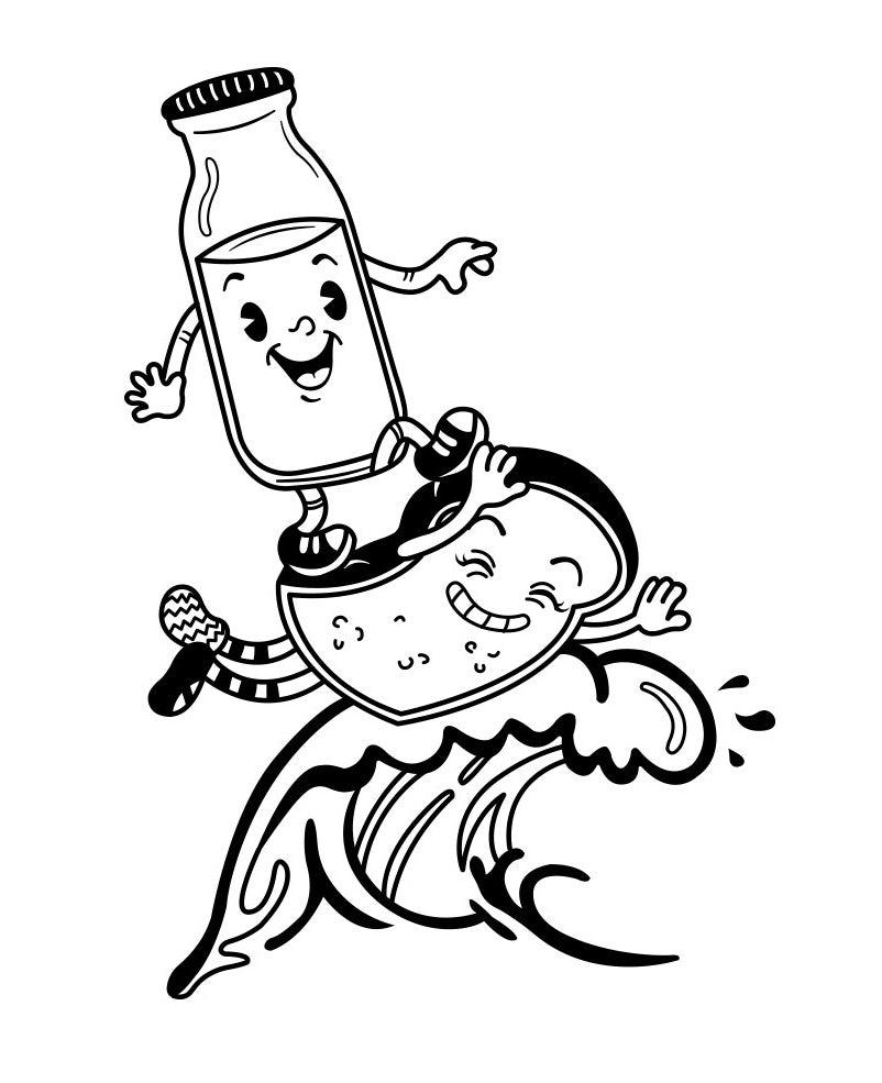 Дизайн персонажей «Молоко и тосты» в стиле 1930-х годов