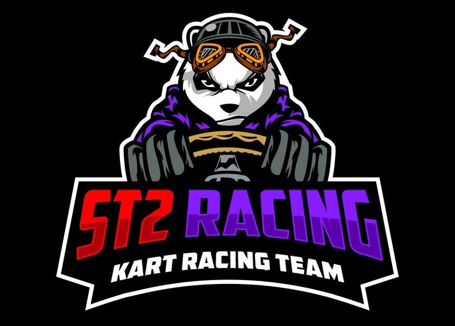 """Дизайн логотипа для гонок на картингах с изображением панды """"width ="""" 960 """"height ="""" 688"""
