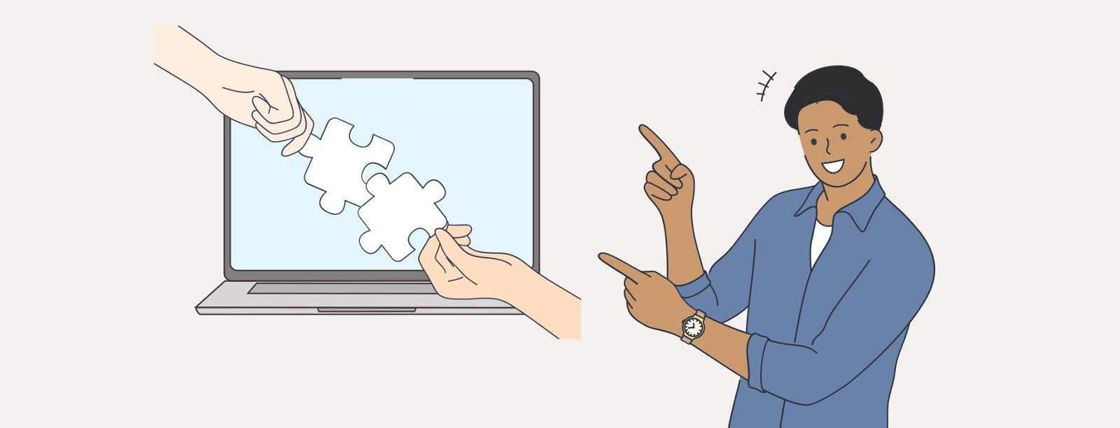 """Иллюстрация рук, соединяющих кусочки мозаики на экране компьютера """"width ="""" 1600 """"height ="""" 612 """"/>    <figcaption> Сохраняйте простоту. Успешный веб-дизайн включает в себя слияние кусочков по кусочкам . Иллюстрация OrangeCrush </figcaption></figure> <p> К счастью, избежать переполнения ваших дизайнов относительно легко, потому что для этого нужно просто избежать соблазна добавить дополнительные элементы на вашу веб-страницу, «чтобы увидеть, что происходит». объясните, для чего предназначен конкретный элемент на вашей странице, его не должно быть. Поэтому сосредоточьтесь на создании прочной, простой структуры, которая подарит пользователям максимально позитивный и цельный опыт. </p> <figure data-id="""