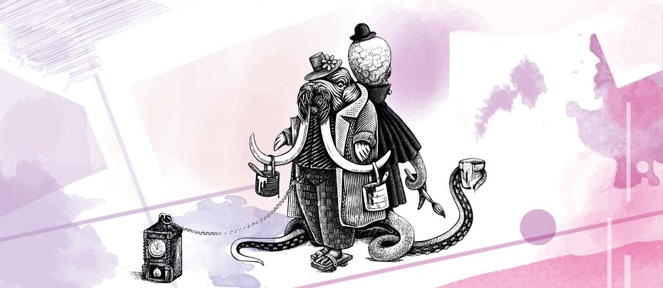 """Дизайн персонажей моржа и осьминога """"width ="""" 1705 """"height ="""" 743"""