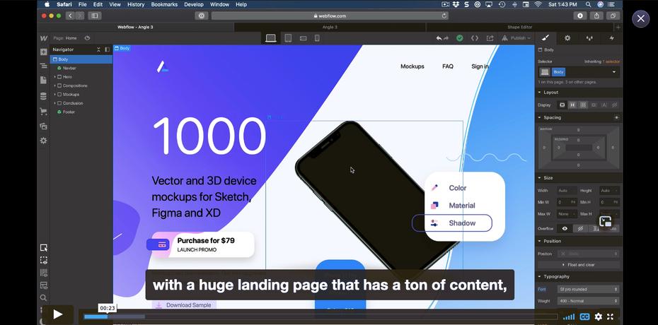 Снимок экрана с примером учебника по Webflow: Дизайн + Код