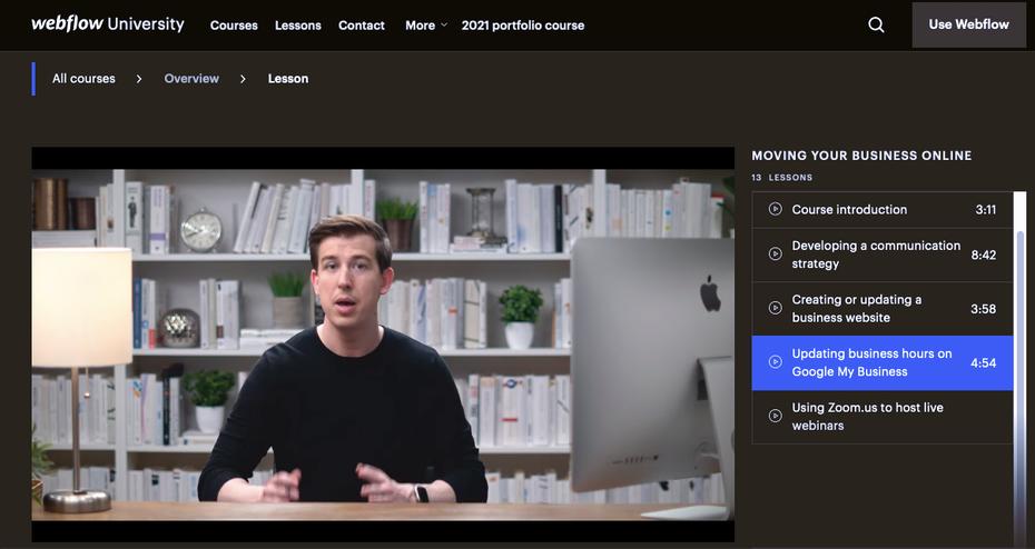 Снимок экрана с примером учебника по Webflow: Университет Webflow