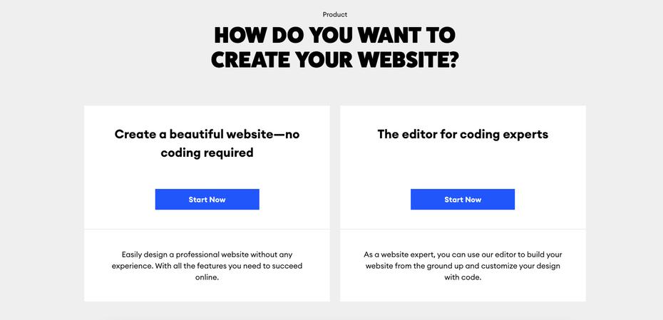 """снимок экрана страницы «Как вы хотите создать свой веб-сайт?» Width = """"1401"""" height = """"676"""