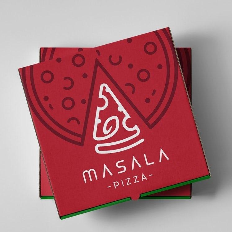 Логотип и упаковка пиццы на вынос