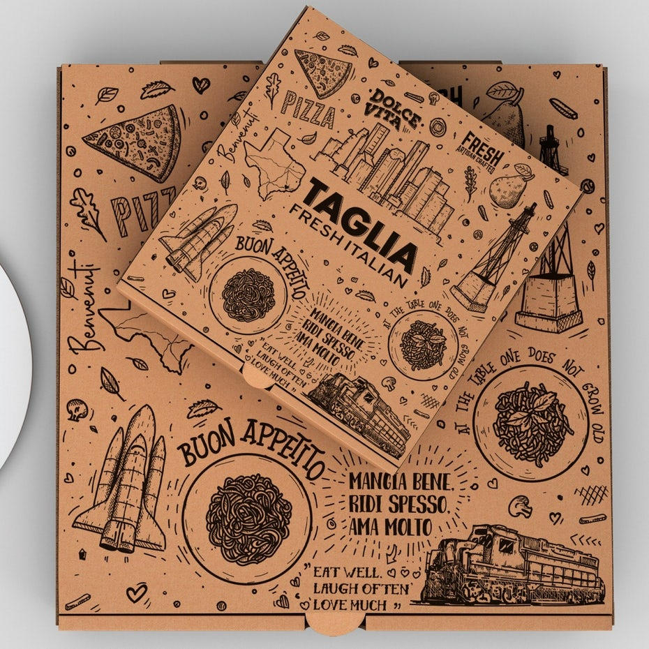 Логотип и упаковка для пиццы на вынос