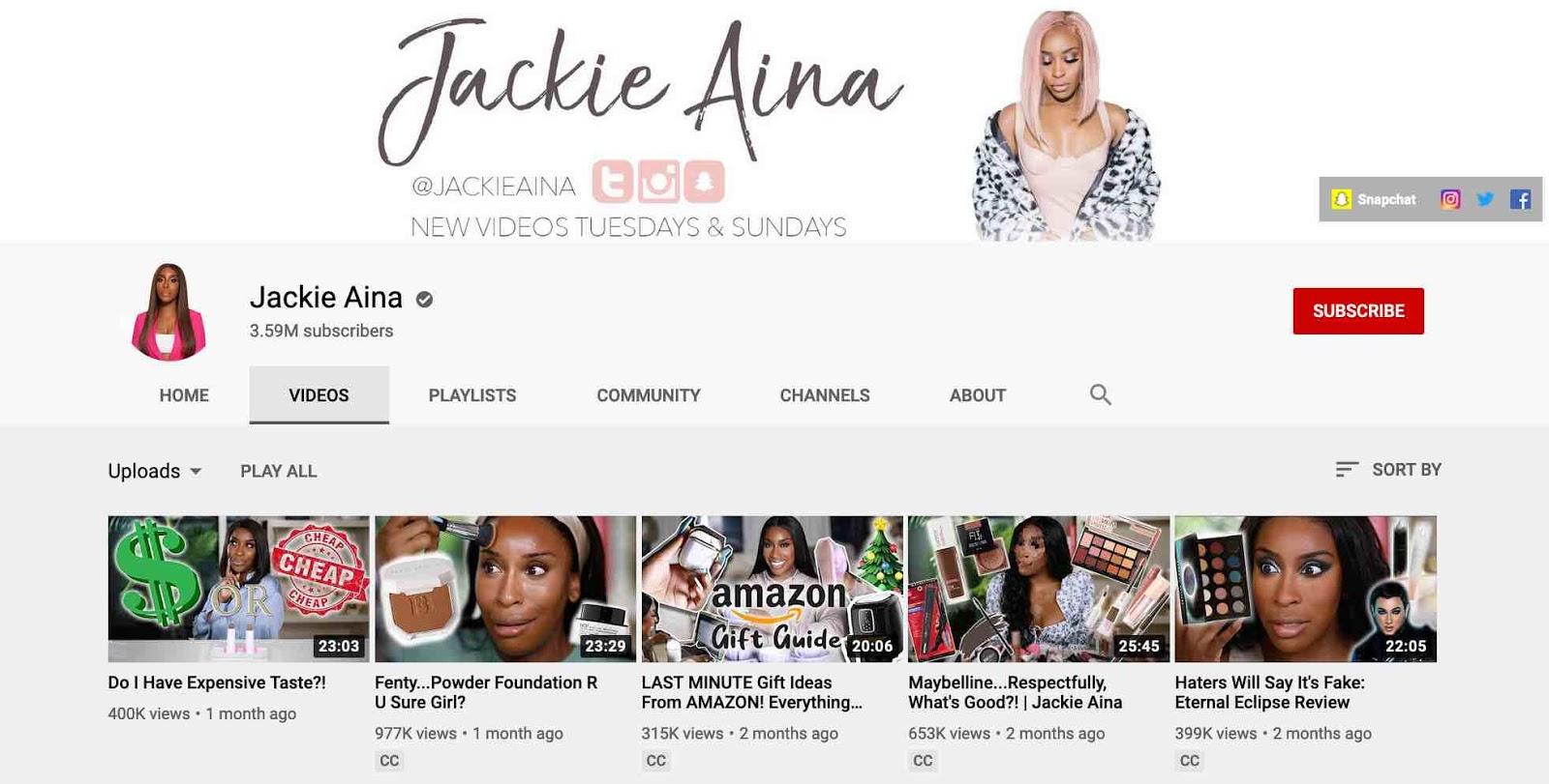 """Запись на YouTube-канале видеоблогера Джеки Айны, посвященном красоте """"width ="""" 1600 """"height ="""" 811"""