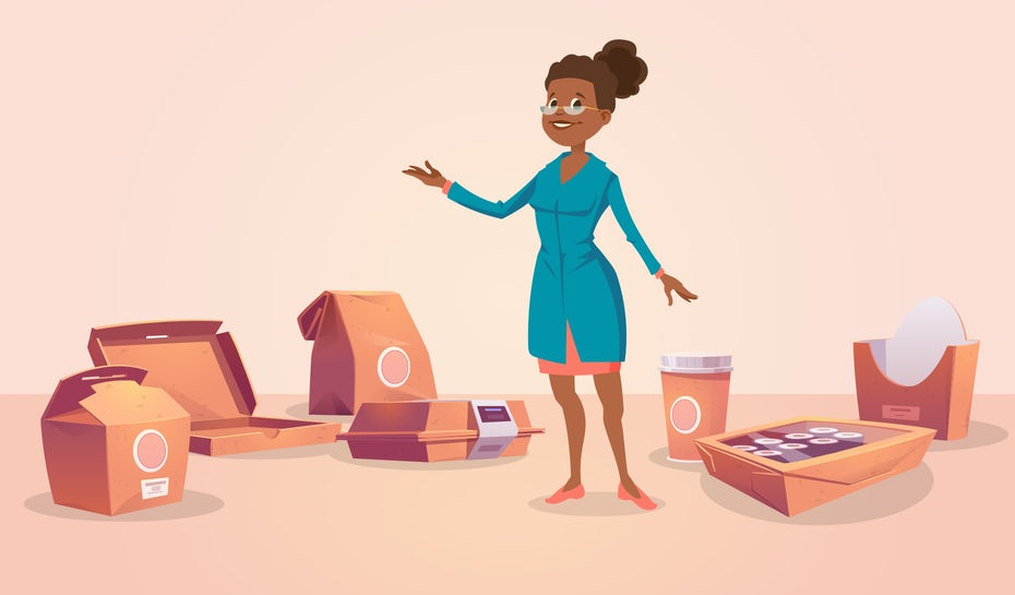 """Иллюстрация женщины, окруженной упаковкой для доставки еды """"width ="""" 1860 """"height ="""" 1090"""