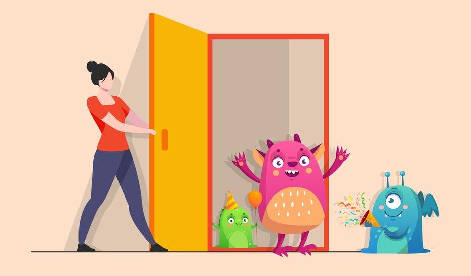 """Иллюстрация человека, открывающего дверь к разным персонажам """"width ="""" 1600 """"height ="""" 938"""