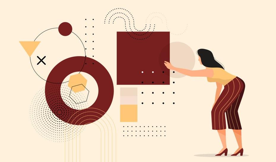 """Группа различных форм на заднем плане, женщина протягивает руку, чтобы схватить квадрат """"width ="""" 1280 """"height ="""" 750"""