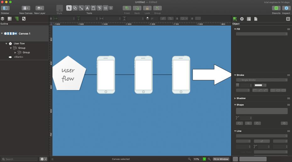 """Пользовательский интерфейс OmniGraffle Pro """"width ="""" 1600 """"height ="""" 887 """"/>    <figcaption> Пример пользовательского интерфейса OmniGraffle Pro. Изображение через OmniGraffle. </figcaption></figure> <p> OmniGraffle Pro — это один из инструментов дизайна под брендом Omni. Он предназначен для создания простых для понимания диаграмм для пользовательских потоков и создания эскизов с использованием векторной графики. </p> <p> Этот инструмент проектирования имеет несколько отличных современных функций, которые делают этап создания идей более плавным и легким для понимания даже начинающими дизайнерами. Вы можете воспользоваться инструментами привязки и выравнивания для организации пользовательских потоков, использования функций перетаскивания и совместной работы с коллегами. Последний относительно ограничен по сравнению с другими инструментами для этапа создания эскизов. </p> <p> <strong> Лучшая особенность </strong>: инструменты для точного позиционирования и фиксации на месте </p> <p> <strong> Стоимость </strong>: от 12,49 долларов США в месяц с 14-дневной бесплатной пробной версией </p> <p> <strong> Уровень квалификации </strong>: новичок </p> <p> <strong> Плюсы </strong>: </p> <ul> <li aria-level="""