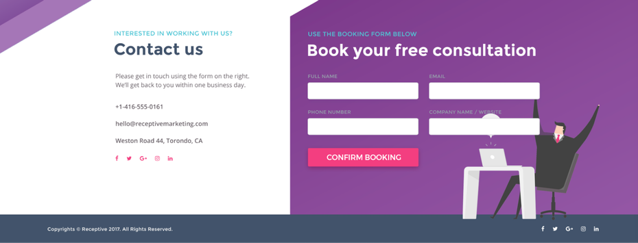 """контактная страница и страница консультации расположены рядом с четким разделением разделов """"width ="""" 1600 """"height ="""" 610"""