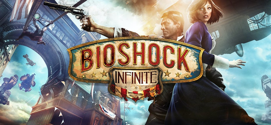 "Обложка и логотип Bioshock Infinite ""width ="" 1600 ""height ="" 740"