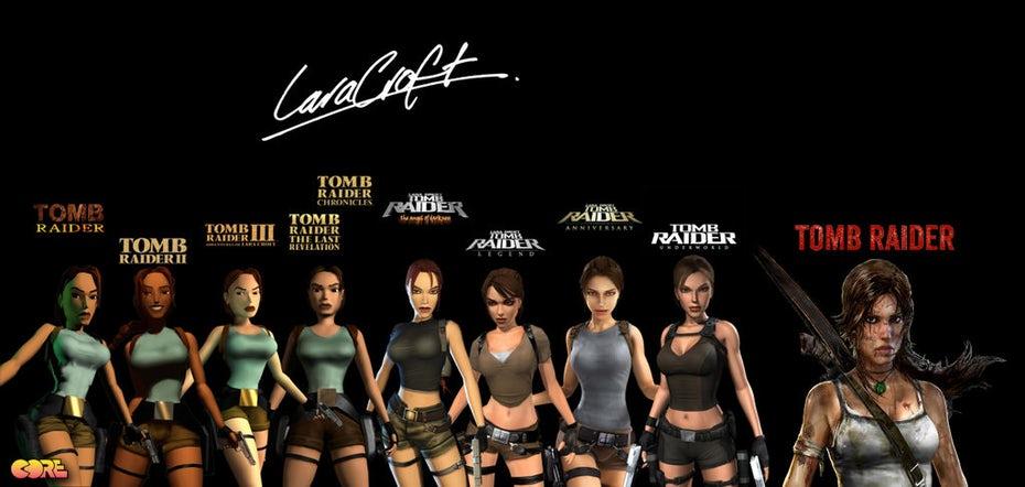 """Логотипы Evolution of Tomb Raider """"width ="""" 1024 """"height ="""" 487"""