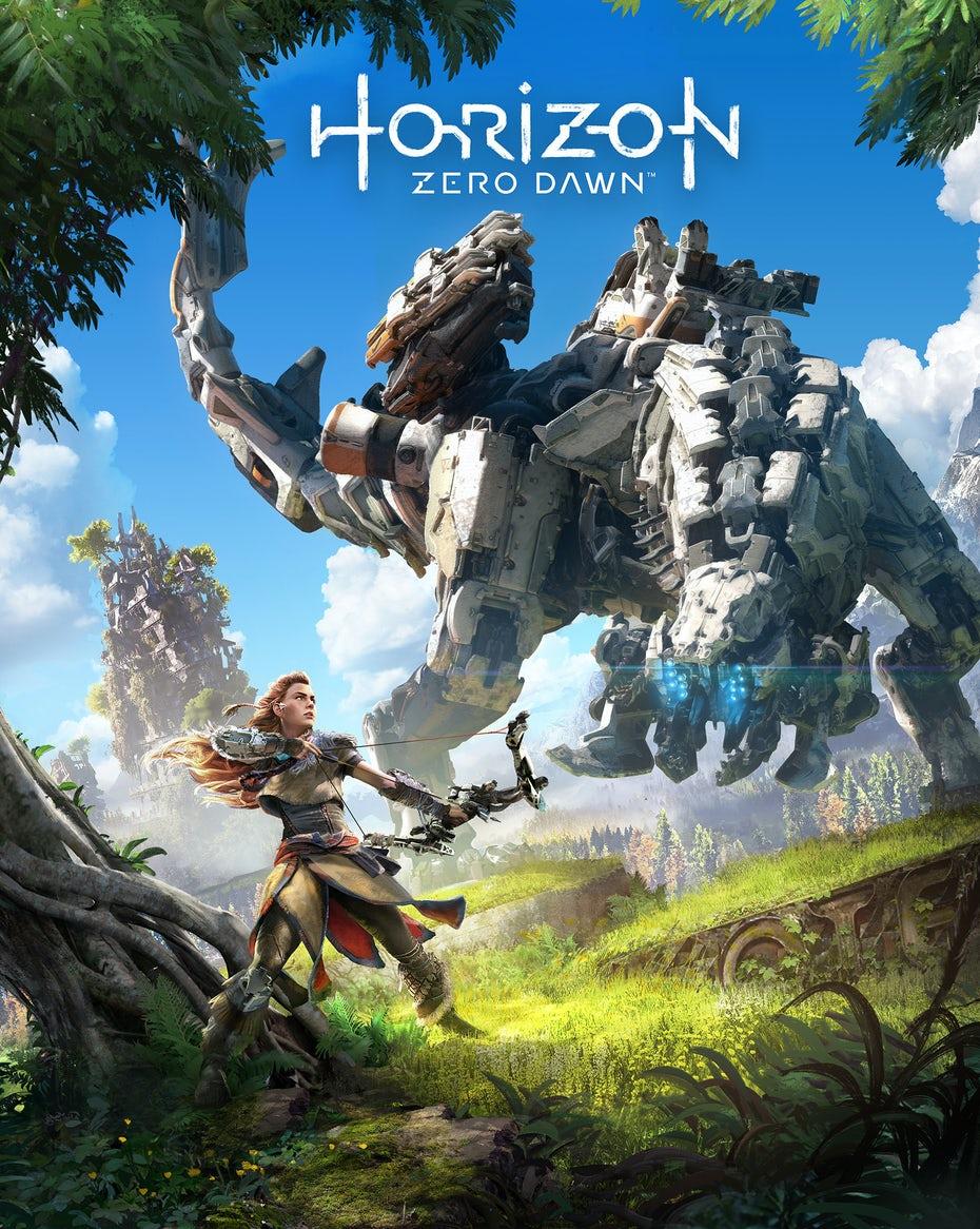 Коробка и логотип Horizon Zero Dawn