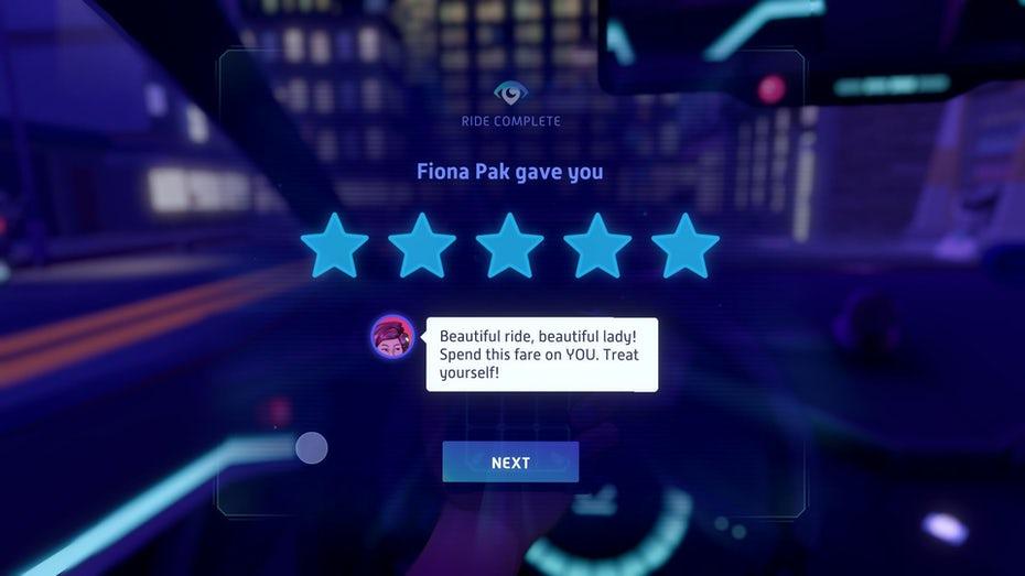 Экран результатов для Neo Cab