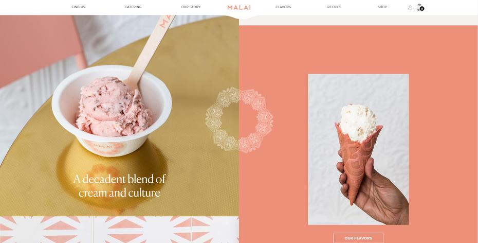 """скриншот веб-сайта Малаи """"width ="""" 1600 """"height ="""" 812 """"/>    <figcaption> Через www.malai.co </figcaption></figure> <p> Мороженое — это своего рода ресторан Нам очень нравится, как на этом веб-сайте используются цвета и движение. Прокрутите главную страницу вниз, и вы увидите теплые контрастные фотографии и текстовые блоки, движущиеся с противоположным параллаксом, как белая мандала в центре страницы. </p> <p> Одна интересная функция на сайте Малаи — это раздел рецептов. Здесь вы можете найти рецепты всевозможных угощений, таких как французские тосты и пирожные, которые можно комбинировать или сочетать с уникальным малайским мороженым. </p> <h2><span id="""