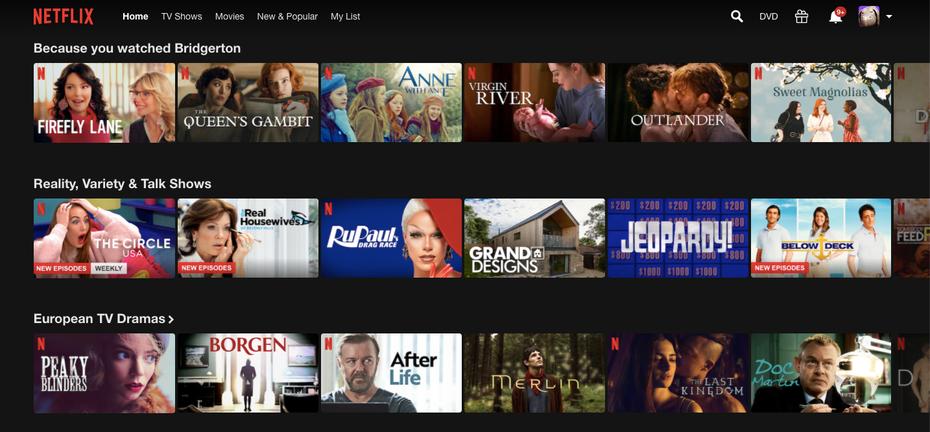 """Домашняя страница netflix """"width ="""" 1434 """"height ="""" 666 """"/>    <figcaption> Netflix персонализирует домашнюю страницу, чтобы все необходимое было в одном месте. Через Netflix </figcaption></figure> <p> Домашняя страница персонализация, очевидно, является отличным выбором для потоковых сервисов. Это похоже на гораздо более удобный поворот в разделе «Руководство» поставщиков кабельных услуг. Персонализированные домашние страницы позволяют просто перейти на домашнюю страницу и использовать ее в качестве основы. Что мне делать Скажем, я что-то просматриваю или что-то обдумываю, но всегда возвращаюсь на главную страницу, где есть все, что мне нужно. Таким образом, этот метод особенно полезен для сайтов электронной коммерции с одним типом продукта (потоковое видео, социальные сети, сайты подписки на сводки новостей) </p> <p> На главной странице Netflix есть практически все, что вы можете искать. Группы по жанрам, рекомендации, основанные на моей истории просмотров, шоу, которые наиболее популярны в мире и где я сейчас нахожусь. Возможность «Продолжить просмотр». Мне действительно кажется, что я попал в своего рода дом; это слишком личное, чтобы делать снимок экрана. </p> <h3><span id="""