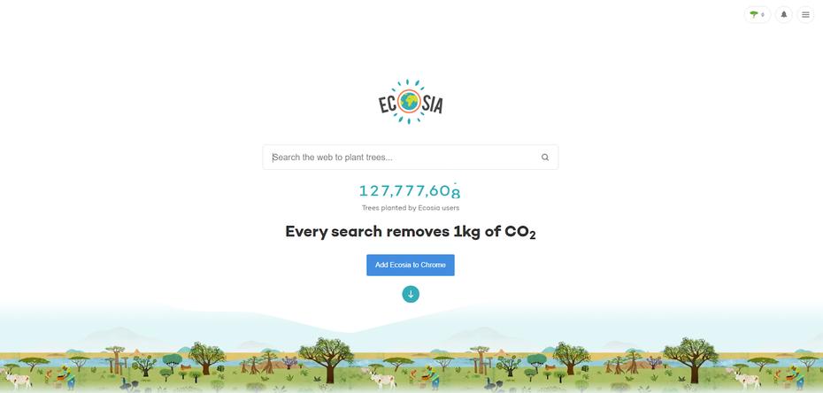 """снимок экрана страницы поиска Ecosia """"width ="""" 1600 """"height ="""" 764"""