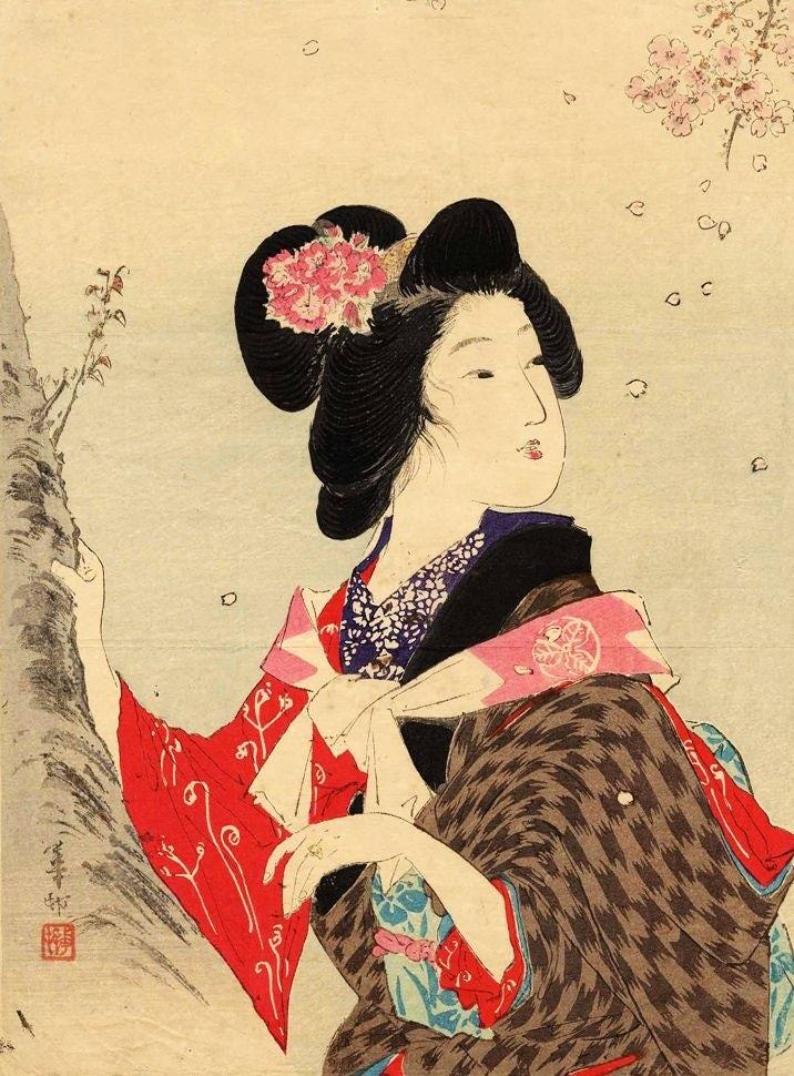 Женщина смотрит в сторону, гравюра на дереве в стиле укиё-э