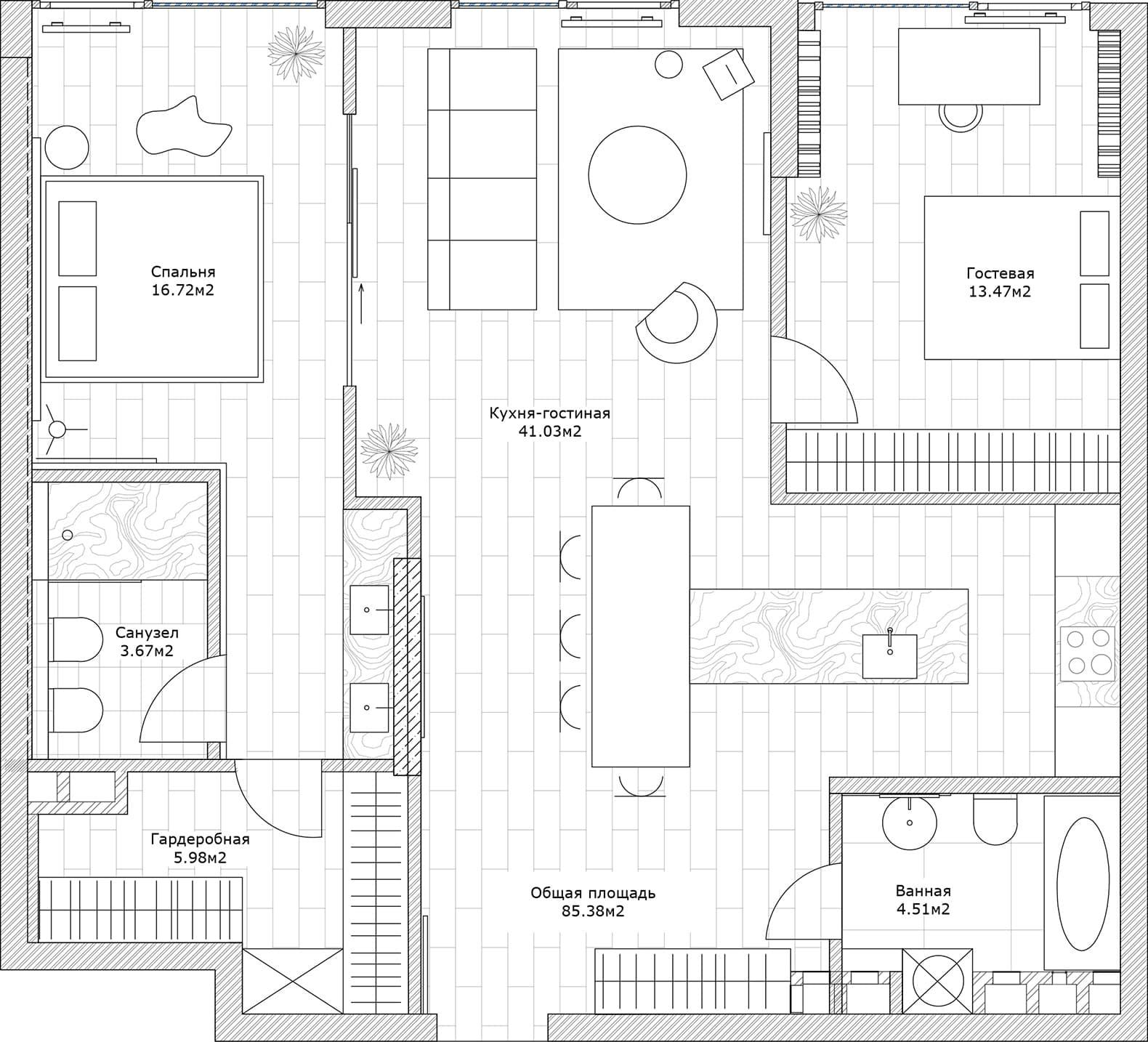 Киевская квартира в стиле mix and match – проект студии Sunday12 Interior LAB. Планировка