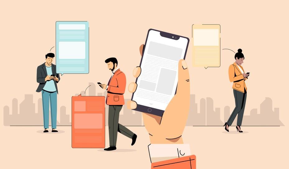 """три человека, стоящие вокруг и смотрящие на свои мобильные телефоны """"width ="""" 1280 """"height ="""" 750 """"/>    <figcaption> Иллюстрация OrangeCrush </figcaption></figure> <div id="""