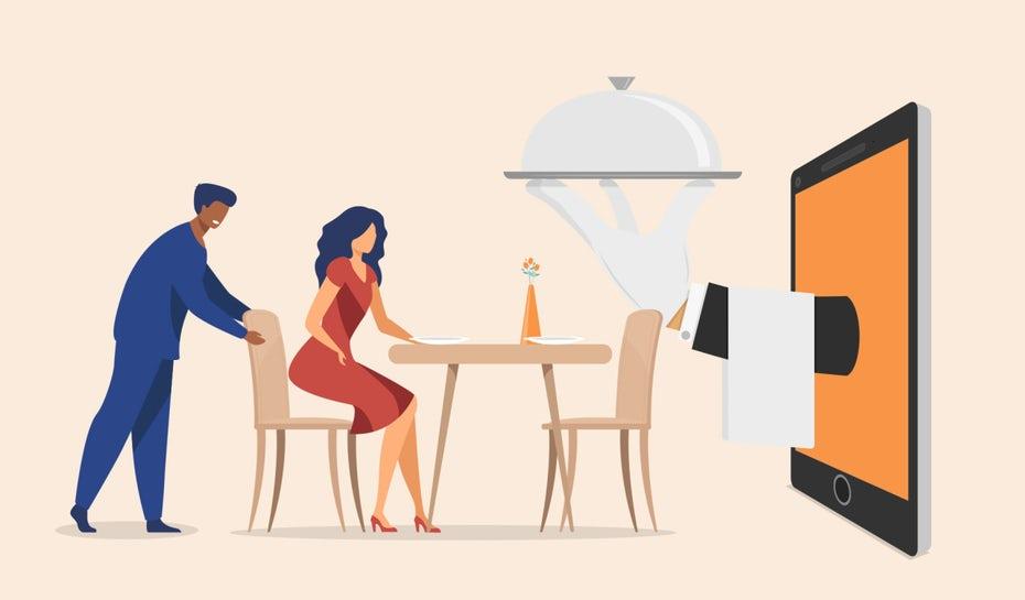 """Женщина, сидящая за столом с сервировочной тарелкой, выходящей из экрана для нее """"width ="""" 1280 """"height ="""" 750 """"/>    <figcaption> Иллюстрация OrangeCrush </figcaption></figure> <div id="""