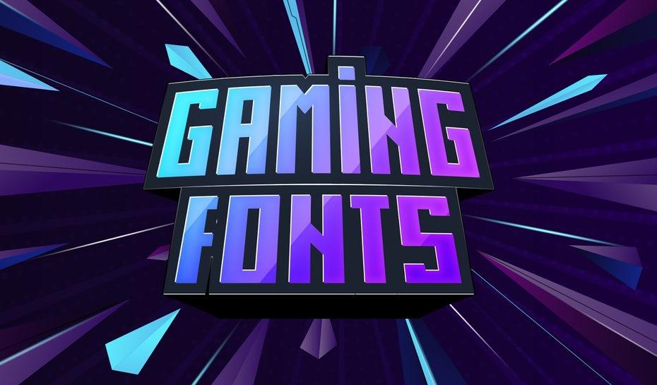"""Сине-фиолетовая иллюстрация со словами «Игровые шрифты» """"width ="""" 1600 """"height ="""" 938"""