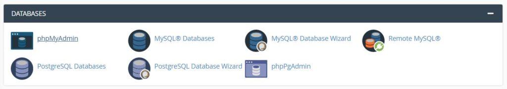 """Доступ к phpMyAdmin из cPanel """"class ="""" wp-image-91220 """"width ="""" 630 """"/> </figure> </p></div> <p> Затем щелкните вкладку <em> Базы данных </em> и выберите базу данных, которую хотите загрузить: </p> <div class="""