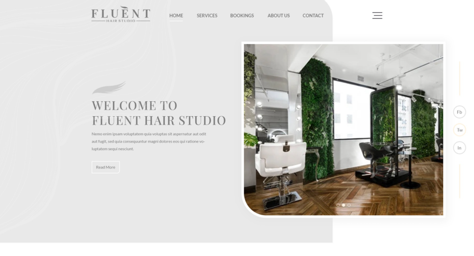 "Веб-сайт Fluent Hair Studio ""width ="" 1272 ""height ="" 686"